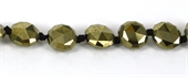 Pyrite Faceted Coin 8mm 4mm thick beads per strand 23Beads-pyrite-Beadthemup