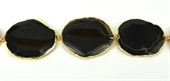 Agate Black oval app 55x45mm Gold colour-agate-Beadthemup