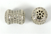 Rhodium  plate brass CZ Tube Bead 10x13mm-silver, rhodium and gold plate-Beadthemup