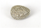 Rhodium  plate brass CZ Teardrop Bead 14x11mm-silver, rhodium and gold plate-Beadthemup