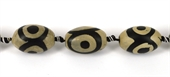 Tibetan Agate 28x18mm Olive Bead-beads incl pearls-Beadthemup