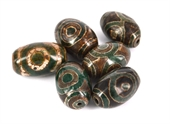 Tibetan Agate 32x20mm Olive Bead-beads incl pearls-Beadthemup