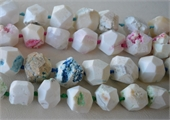 White Agate Dyed approx 20mm Faceted Nugg-agate-Beadthemup