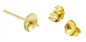 9ct Yellow gold pearl cup 4mm stud pair-gold-Beadthemup