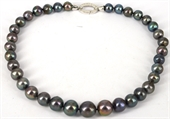 45cm Sterling Silver  & Fresh Water Edison Black 10-16mm Pea-jewellery-Beadthemup