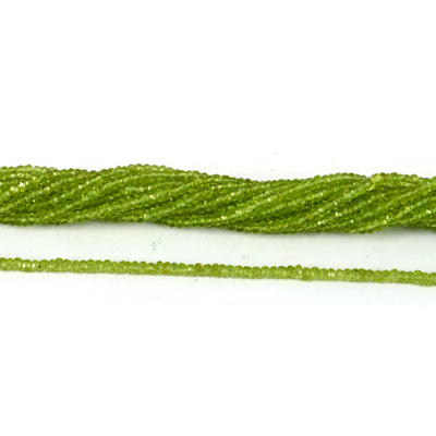 Peridot Faceted Rondel 2x3mm strand 33.5cm long