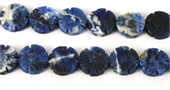 Sodalite Carved flat  Flower 16mm EACH-gemstone beads-Beadthemup