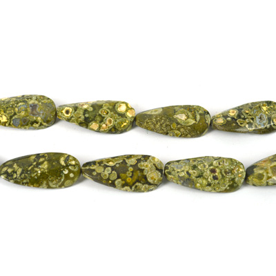 Rhyolite Twisted Faceted Oval 20x40mm EACH