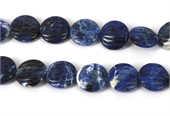 Sodalite Carved Flat round 18mm EACH-gemstone beads-Beadthemup