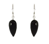 Onyx Sterling Silver Faceted Earring stone 10x20mm-earrings-Beadthemup
