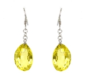 Lemon quartz Quartz Sterling Silver Faceted Earring-earrings-Beadthemup