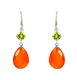 Carnelian, Peridot Sterling Silver Faceted Earring-earrings-Beadthemup
