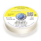 Silk Cord WHITE 0.42mm 40m spool-stringing-Beadthemup