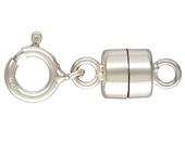 Sterling Silver Clasp magnetic 4.5mm with 5mm spring ring-clasps, toggles and extension chain-Beadthemup