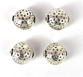 Silver Plate Copper Bead Round 14x16mm 4 pack-925 silver plate copper-Beadthemup