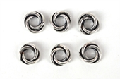 Silver Plate Copper Ring Twist 9mm 6 Pack-clasps and jump rings-Beadthemup