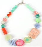 Summer Daze necklace KIT Blue lace Agate, Coral Jade, MOP & Pearl-bead inspired projects-Beadthemup