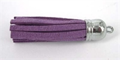 Faux suede 55mm Tassel 2 pack Purple-base metal-Beadthemup
