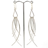 Sterling silver sheppard, Rhodium plate tassel 110mm earring-earrings-Beadthemup