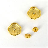 Gold Plate Brass silver post CZ Stud 13mm 1 pair-findings-Beadthemup