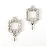 Sterling Silver CZ connector with pin 11mm square 1 pair -925 sterling silver-Beadthemup
