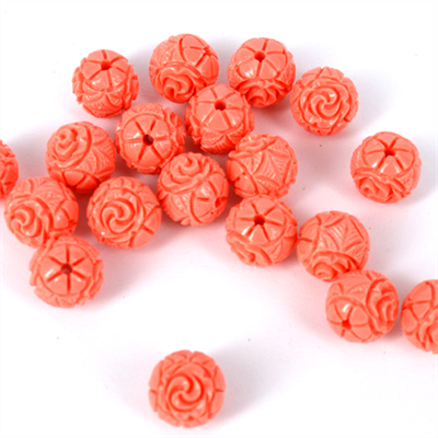 Carved Resin round Apricot10mm EACH bead