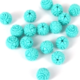 Carved Resin round Turquoise 10mm EACH bead-resin-Beadthemup