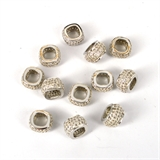 Rhodium plate CZ Square Rondel 11x6.5mm EACH-beads and spacers-Beadthemup