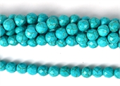 Howlite Dyed Aqua Faceted Round 10mm strand 42 beads-howlite-Beadthemup