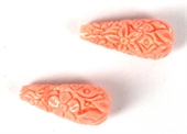 Carved Shell reconstituted Teardrop 8x20mm PAIR-briolette shape-Beadthemup