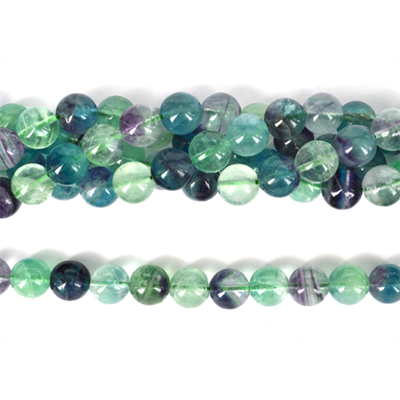 Flourite polished round 12mm Strand 34 beads