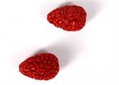 Resin Carved Teadrop Red  20x14mm PAIR-resin-Beadthemup