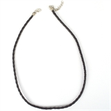 Fauz Leather Woven Necklace 4mm Black 46-52cm long-chain and necklaces-Beadthemup