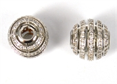 Rhodium plate Brass CZ Bead round 12x13mm EACH-beads and spacers-Beadthemup