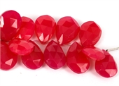 Chalcedony Hot pink Faceted 15x10mm Briolette EACH-beads incl pearls-Beadthemup