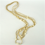 Faux Suede & 24  Fresh Water Pearl necklace cream 87cm-jewellery-Beadthemup