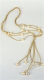 Faux Suede & 18 Fresh Water Pearl necklace Cream 72cm +20cm tassel-necklaces-Beadthemup