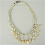 Leather & 18 Fresh Water Pearl necklace Magnetic clasp White 45cm-necklaces-Beadthemup