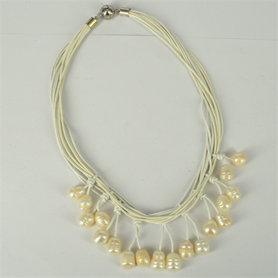 Leather & 18 Fresh Water Pearl necklace Magnetic clasp White 45cm