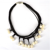 Leather & 18 Fresh Water Pearl necklace Magnetic clasp Black 45cm-necklaces-Beadthemup