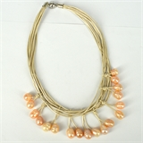 Leather & 18 Fresh Water Pearl necklace Magnetic clasp Cream 45cm-necklaces-Beadthemup