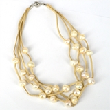Faux Suede & 27 Fresh Water Pearl necklace Magnetic clasp Cream 48cm-jewellery-Beadthemup