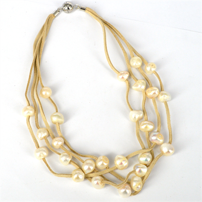 Faux Suede & 27 Fresh Water Pearl necklace Magnetic clasp Cream 48cm