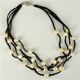 Faux Suede & 27 Fresh Water Pearl necklace Magnetic clasp Black 48cm-jewellery-Beadthemup