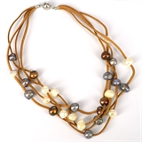 Faux Suede & 27 Fresh Water Pearl necklace Magnetic clasp Tan 48cm-jewellery-Beadthemup