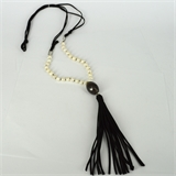 Faux Suede, Agate & 28 Fresh Water Pearl necklace Black 94cm + Tassel-necklaces-Beadthemup