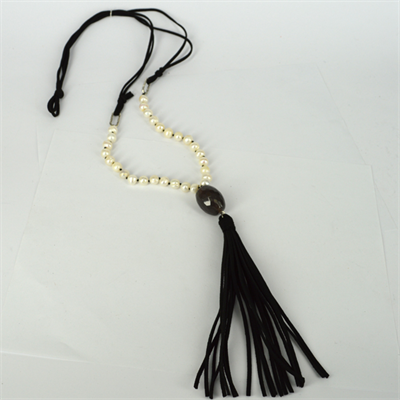Faux Suede, Agate & 28 Fresh Water Pearl necklace Black 94cm + Tassel