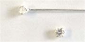 Sterling Silver Headpin CZ claw set 0.5x50mm 10 pack-925 sterling silver-Beadthemup