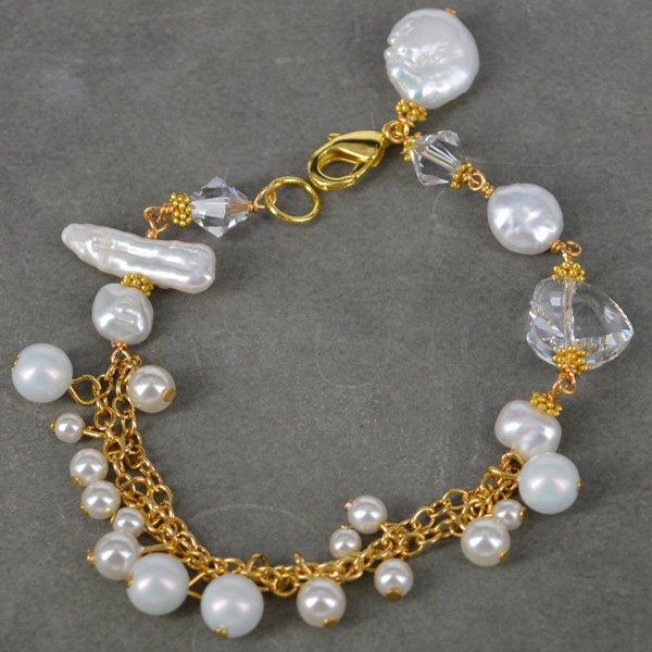 KIT Swarovski & Pearl Gold wire wrapped bracelet up to 21cm