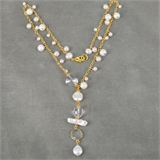 Swarovski, Pearl and Gold plate necklace up to 47cm long-necklaces-Beadthemup
